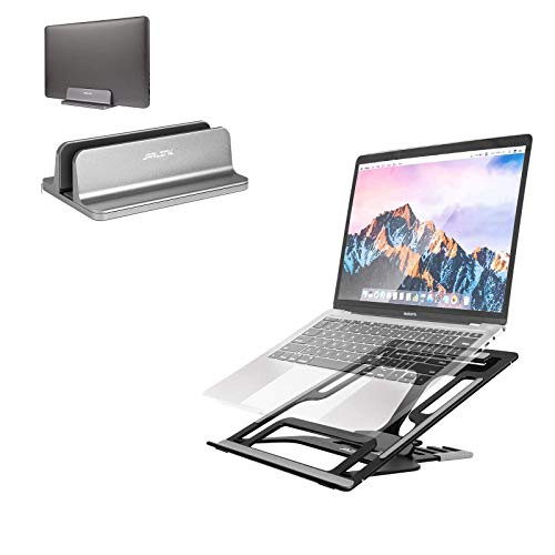 JARLINK Vertical Laptop Stand Bundle with Adjustable Laptop Stand, Foldable Aluminum Desktop Laptop Riser with Ergonomic Design, Compatible with All Laptops iPad Tablet (up to 15.6 inches), Upgraded
