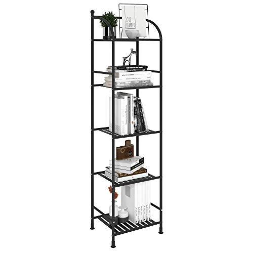 FKUO 5 Tier Bathroom Storage Open Shelf Unit Free-Standing Metal Corner Rack Shelving for Kitchen Living Room Hallway Black 5 Tier