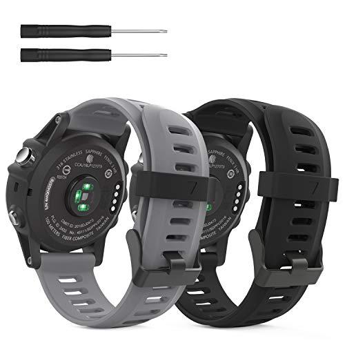 MoKo Pulsera Compatible con Fenix 3/3 HR/5X/5X Plus/D2 Delta PX/Tactix Bravo/Descent Mk1/Quatix 3, [2-Pzs] Correa de Silicona Respirable y Reemplazable, Banda de Reloj Deportivo - Rojo Oscuro & Az