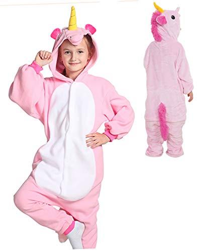 Seawhisper Schlafoverall Kinder Einhorn Kostüm für Kinder Pyjamas Tier Jumpsuit Halloween Kostüm 128 134 Rosa