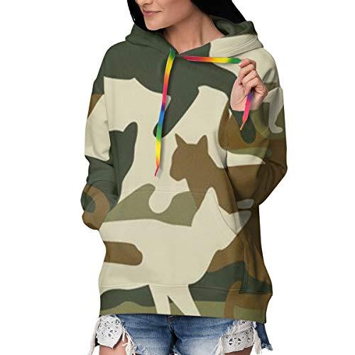 Melinda Perrodin Camouflage (3) Damen-Sweatshirt mit Kapuze, Dickes Sweatshirt und Casual-Pullover aus hochwertigem Velours L