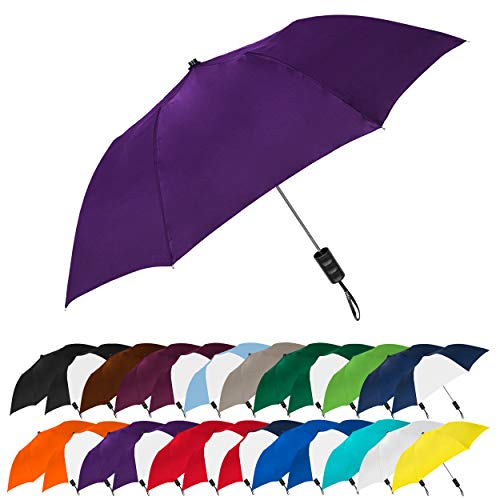 "STROMBERGBRAND UMBRELLAS Spectrum Popular Style 15"" Automatic Open Umbrella Light Weight Travel Folding Umbrella for Men and Women, (Purple)"