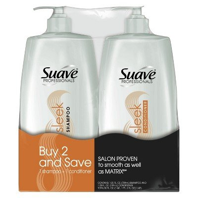 SUAVE HAIR Professionals Sleek Shampoo And Conditioner With Pump, 28 Ounce