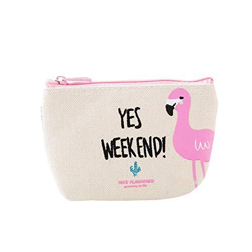 Haodou Mini Geldbörse Reißverschluss Geldbeutel Niedlich Flamingo Kaktus Leinwand Münzbörsen Münzbörse Münzbeutel Mini-Portemonnaie 16cm*9cm*3.5cm (Beige)