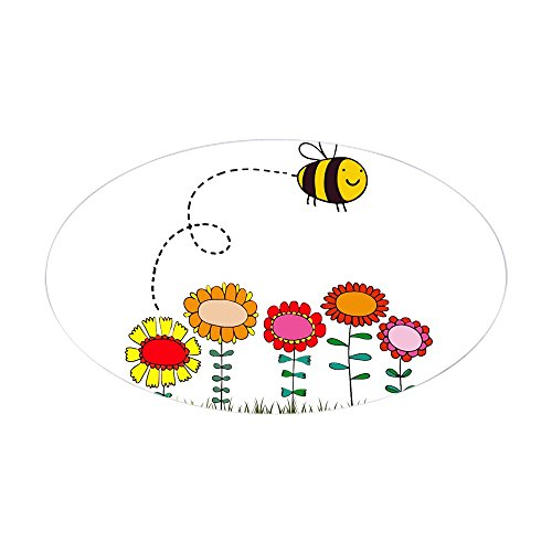 CafePress–Bee Buzzing Flower Garden Duschvorhang weiß–oval Bumper Sticker KFZ Aufkleber, weiß, Large - 4.5x7.5