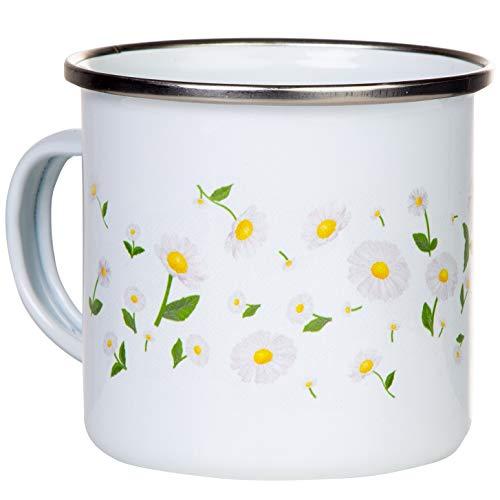Flower Serie #6 | Emaille Becher mit silbernem Rand | mit Margeriten Gänseblümchen Motiv | für Kaffee, Tee oder Deko | Inhalt 300ml | by MUGSY (#6 Margeriten)