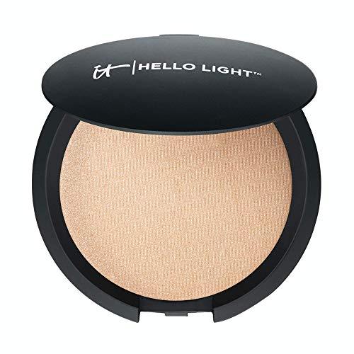 IT Cosmetics Hello Light Powder Luminizer - Anti-Aging Highlighter - Brightens, Hydrates & Awakens Skin - With Silk, Hydrolyzed Collagen, Peptides & Antioxidants - 0.33 oz