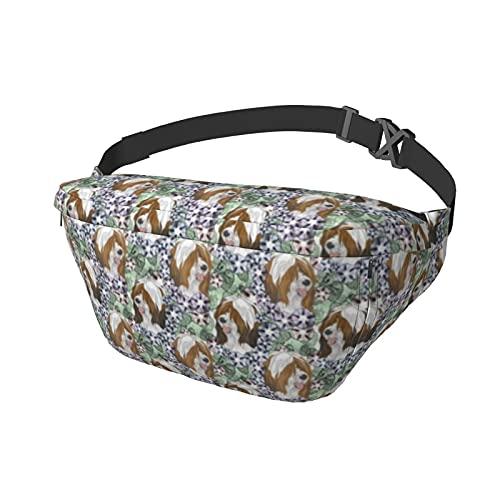 Bolso de pecho tibetano floral de Terrier, para hombre y mujer