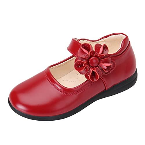 Zapatos niña de Baile Planas Antideslizante cómodos Merceditas niña de Cuero PU Suave Casual Sandalias niña Bonita Regalos de niña con Flor Zapatos de comunion niñas Zapatos de Bautizo de Princesa