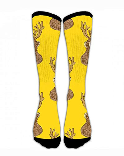 Men & Women Classics Crew Socks Sketch Monkey with Reindeer Antlers Funny Crazy Unique Thick Warm Cotton Crew Winter Socks Personalized Gift Socks