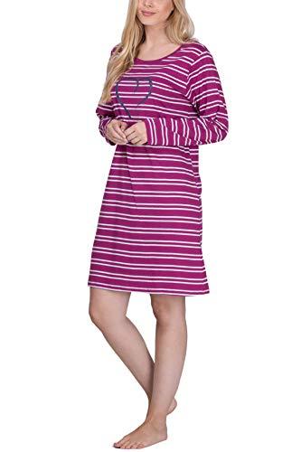 Moonline Damen Nachthemd kurz Sleepshirt aus 100% Baumwolle von Größe S - 4XL, Größe:48-50, Farbe:Beere