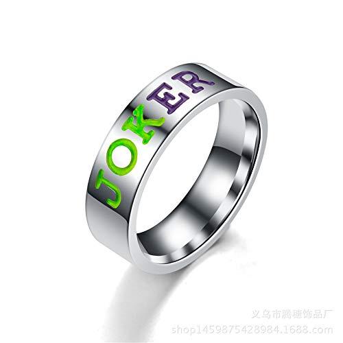 MXH Joker Harley Edelstahl-Paar Paar Ring Titan Stahl Brief, Rot,Joker,9