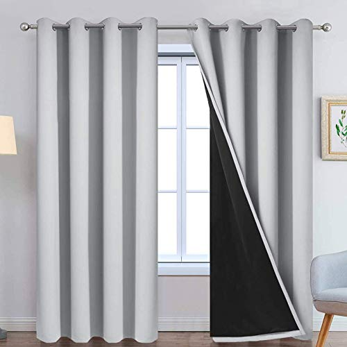 Yakamok 100% Blackout Curtains Energy Saving Thermal Insulated 2 Thick Layers Completely Blackout Drapes with Black Liner for Bedroom (52Wx84L,Light Grey, Set of 2)