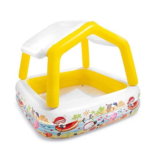 QXF-D Piscina Gonfiabile con Il Parasole, Multicolore Piscina for Bambini Famiglia Piscina Sabbia Palla Pool Summer Beach Garden Giocattoli da Bagno -157 * 157 * 122cm