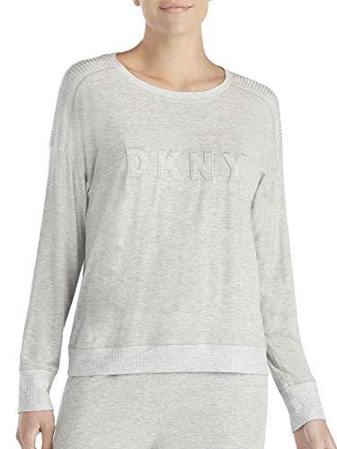 DKNY Core Essentials - Camiseta de Manga Larga con Logotipo para Mujer Gris Claro Small = 36/38