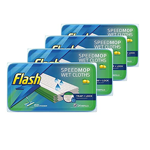 Flash SpeedMop Recambios de Tela húmeda, Limpiador de Pisos, limón, 96 Unidades (24 x 4)