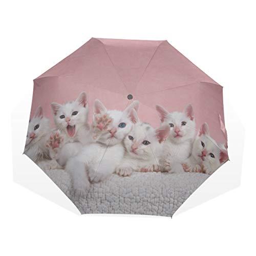 Paraguas de Viaje Grupo de pequeños Gatitos con Rayas Gatos en una Cesta Antivibrante Compacto 3 Fold Art Ligero Paraguas Plegables (impresión Exterior) Lluvia a Prueba de Viento Paraguas de Protecci