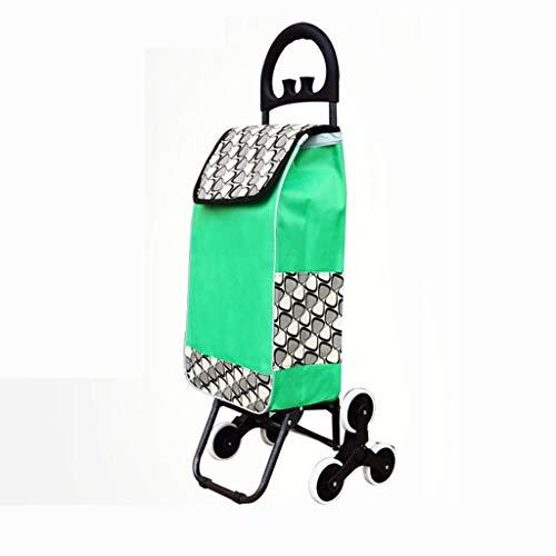 Einkaufswagen Einkaufswagen Kleiner Einkaufswagen Tragbarer Trolley-Alter Klappstuhl Pull Trolley Car Home Trolley (Farbe : Fresh Fruit Green, größe : A)