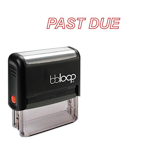 Past Due w/Italic Outline Style Font and Design Self-Inking Rubber Stamp