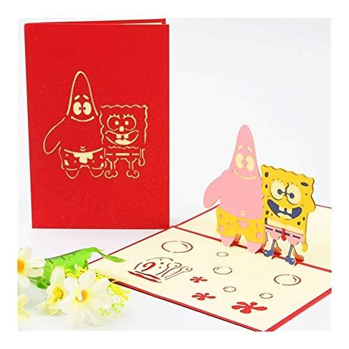 BGDRR 3D-Pop-Up-Einladungen Karte 3D Paper World Sehenswürdigkeiten Geburtstag Karten 3D Tourist-Postkarte Speichern Sie die Datums-Jungen-Geschenk-Karte (Color : Spongebob)