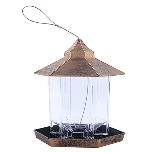 NIUXICH - Mangiatoia per uccelli selvatici da appendere, a forma esagonale con tetto per gli osservatori di uccelli, a prova di scoiattoli, mangiatoia per uccelli da giardino, decorazione cortile