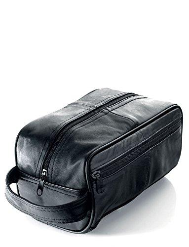 Men's Black Leather Toiletry Bag/Men's Wash Bag (WB3)