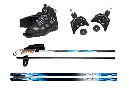 Whitewoods New 75mm 3Pin Cross Country Package Skis Boots Bindings Poles 177cm (42, 121-150lbs.)