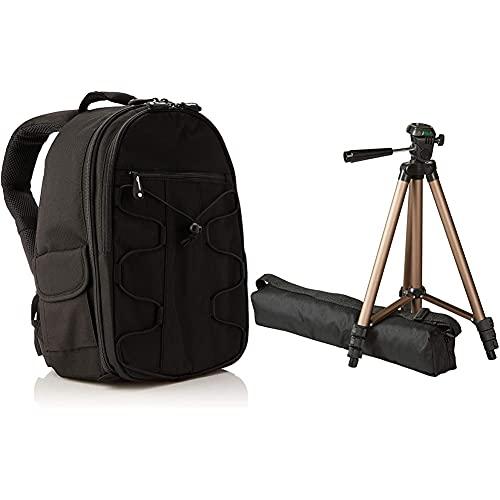 Amazon Basics- Zaino per fotocamera SLR + accessori, colore: Nero & Amazon Basics - Treppiedi leggero, 127 cm