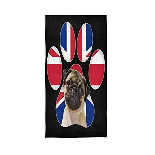 ALAZA Toallas de algodón con estampado de huellas de perro, toalla de cara, decoración de baño, 76 x 38 cm