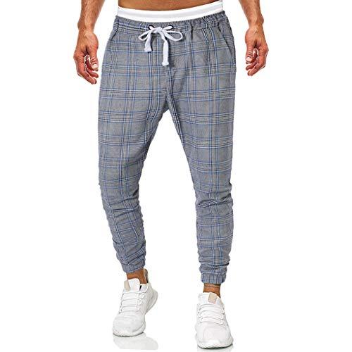 Fashion Mens Casual Solid Loose Plaid Lattice Sweatpant Trousers Sport Jogger Pant Gray