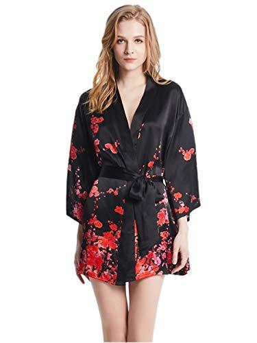 prettystern Mini Vestido de Mujer Kimono de Seda Chaqueta Envuelta Bata Estampados...