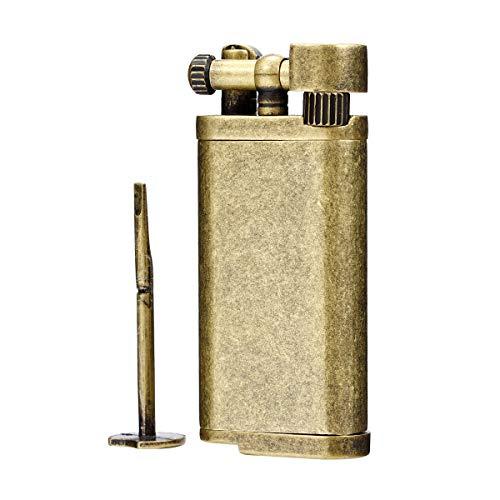 Encendedor de butano para tabaco con brazo de elevación de estilo antiguo, con palanca y palanca (bronce)