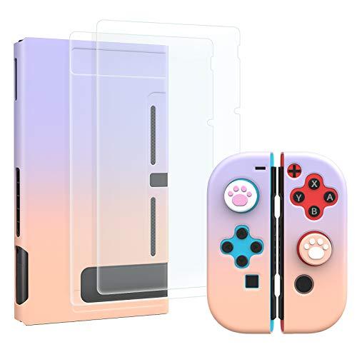 MoKo Funda Compatible con Nintendo Switch, Carcasa Protectora para Controlador de PC Antiarañazo con 4 Tapas de Agarre Pulgar para Joystick y 2 Protectores de Pantalla Vidrio Templado, Rosa + Violeta