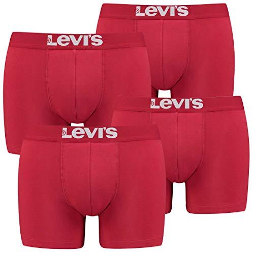 4er Pack Herren Levis Solid Basic Boxer Brief Boxershorts Unterwäsche Pants, Bekleidungsgröße:L, Farbe:186 - Chili Pepper