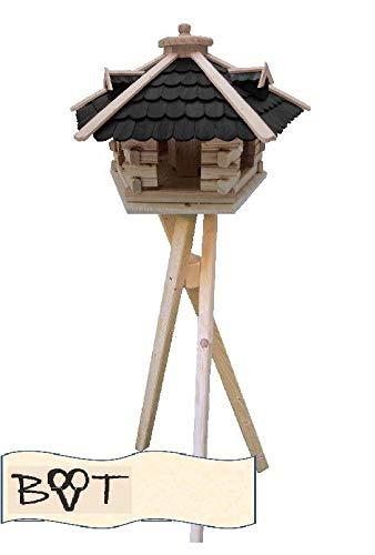 Vogelhaus, Vogelvilla mit Ständer, 68 cm, mit Silo + Fett-Spender, Holz-Schindel schwarz, Futterhaus wetterfest