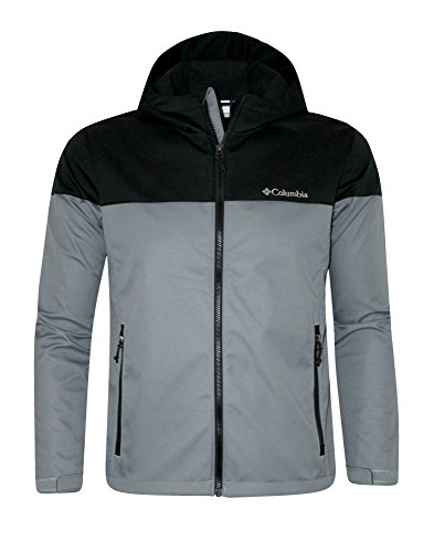 Columbia Lucky Find Soft Shell Mens Hooded Full Zip Spring / Fall Water resistant Jacket (XL, Light Grey)