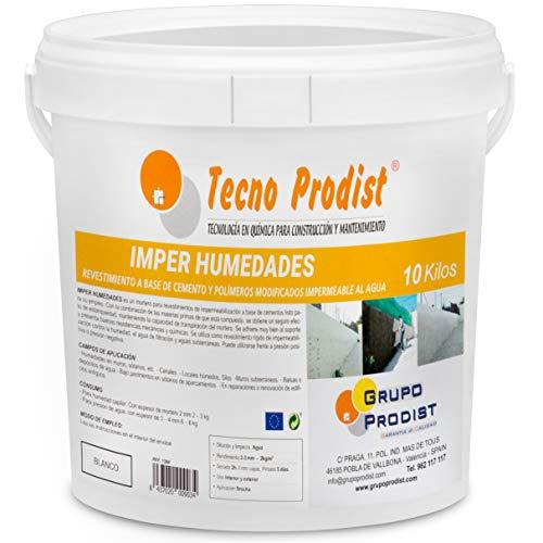 IMPER HUMEDADES de Tecno Prodist - (10 Kg) Mortero para revestimiento de Paredes. Impermeabilización. Tratamiento humedades muros, sótanos, etc. Impermeable al agua, fácil de usar. Color Blanco.