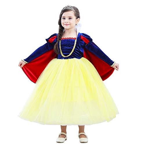 NNDOLL Carnevale Costume Bambina Abito Regina delle Nevi Biancaneve Deluxe Vestito Bimba Travestimento Manica Lunga Removibile 9 10 Anni