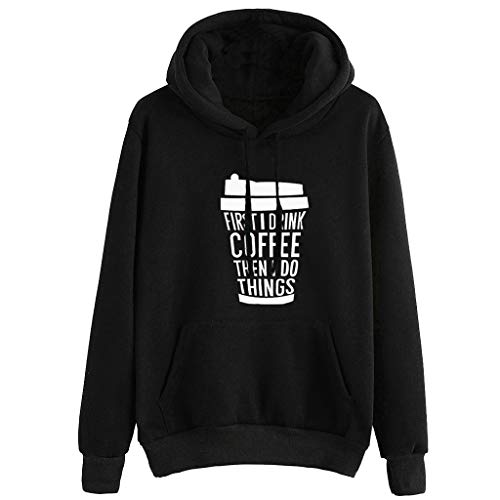 VECDUO Women's Hoodies, Coffee First Print Long Sleeve Hooded Sweatshirt Jumper Pullovers Top