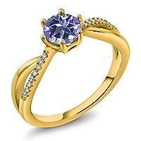Gem Stone King 1.19カラット 天然 ミスティックトパーズ (タンザナイトブルー) 指輪 リング レディース シルバー925 イエローゴールドコーティング