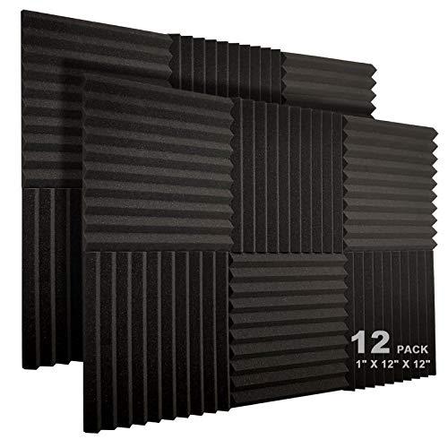"""JBER 12 Pack Acoustic Foam Panels, 1"""" X 12"""" X 12"""" Studio Soundproofing Wedges Fire Resistant Sound Proof Padding Acoustic Treatment Foam (Black)"""