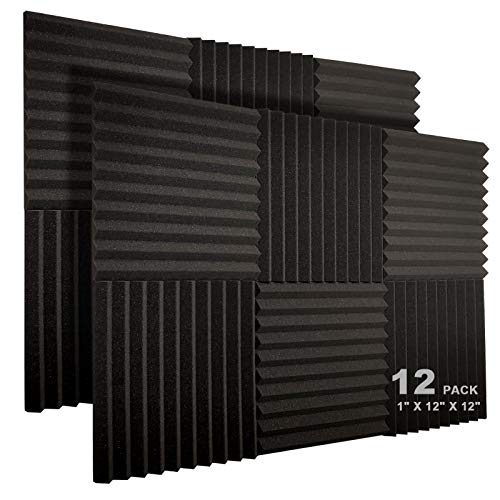 "JBER 12 Pack Acoustic Foam Panels, 1"" X 12"" X 12"" Studio Soundproofing Wedges Fire Resistant Sound Proof Padding Acoustic Treatment Foam (Black)"