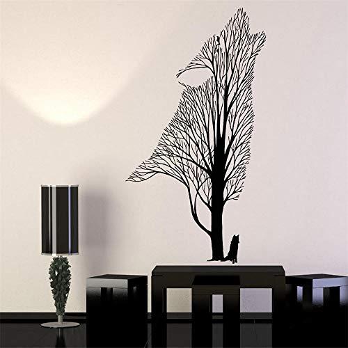 69x114cm vinilo pared calcomanía árbol aullido Lobo Cuervo Animal estilo gótico pegatinas de pared decoración del hogar sala de estar
