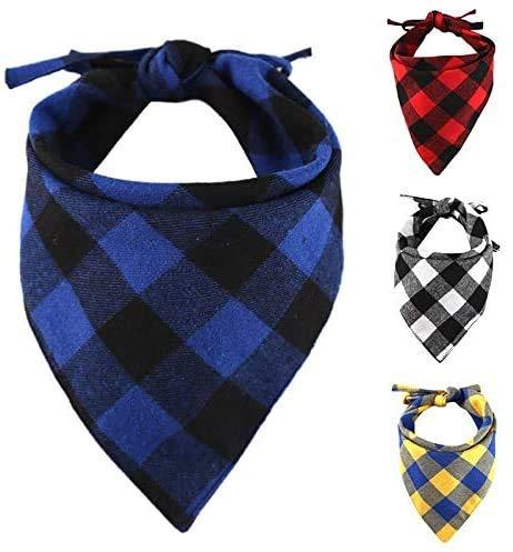 Kingkindsun Hunde-Halstuch, kariert, 4 Stück, verstellbar, für kleine, mittelgroße und große Hunde, Welpen, Haustiere