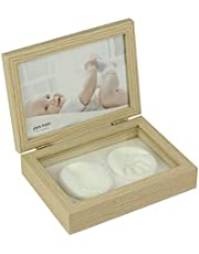 Home Me フォトフレーム 2L 手形 足型 赤ちゃん ベビーフォトフレーム 木製 ガラス 卓上 出産祝い 内祝い ベビー記念品 (木の色)