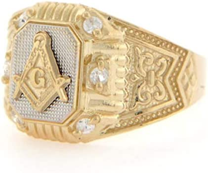 10k Two Tone Gold Masonic CZ Fancy Mens Ring Jewelry Style 2298 Size 11 product image