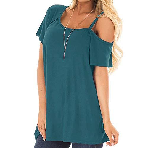 T-Shirt Kurzarm Damen Sommer Einseitige Sling Trägerlose Damenbekleidung