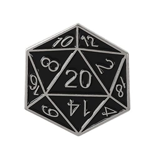 """Pin de dados de 20 caras para """"mazmorras y dragón"""" Fans esmalte broche Denim Badge mesa regalos juegos"""