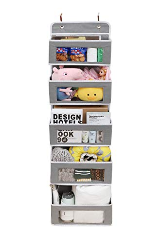 Runpon Over The Door Organizer Wall Closet Hanging Storage Bag with 5 Clear Window Bin Pockets 2 Metal Hooks Saves Space in Baby Nursery Bathroom Closet Dorm (Grey)