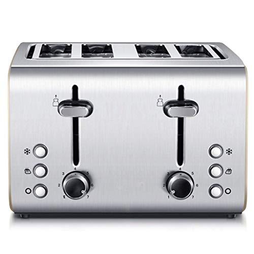 Mnjin Multifunktionaler Brotbackautomat Langschlitz-Toaster aus Edelstahl, Bagels, Spezialbrote zum Aufwärmen, Abbrechen und Auftauen, 4 Scheiben